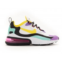 AT6174-101 Donne NIKE AIR MAX 270 REACT - Bianche/Gialle-Nere-Bright Violet