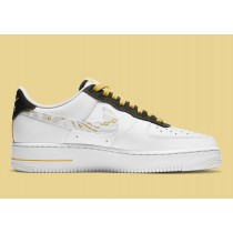 DH5284-100 Nike Air Force 1 Scarpe - Bianche/Oro-Nere